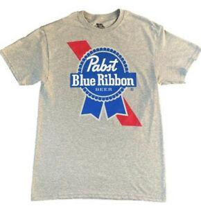 Pabst Blue Ribbon Classic Beer Tshirt Grey Mens