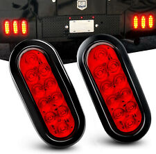 "2Pack 6 LED Trailer Truck Stop/Turn/Tail Brake Lights 6"" Oval Sealed Mount Red"