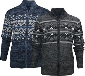 Mens Full Zip Cardigan Knitted Aztec Pattern Modern Casual Jumper Ex Store M-2XL