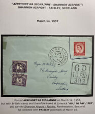 1957 Shannon Airport Ireland Airmail Postage Due Cover To Paisley Scotland