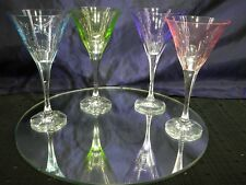 Crystal Cut to Clear Martini Glasses Pastel Multicolored Set of 4