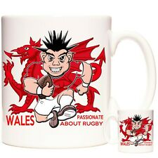 WELSH RUGBY GIFT MUG Wales Passionate About Rugby. Welsh Dragon Mug