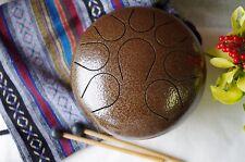 WuYou 9in Handmade Steel Tongue Drum Handpan Chakra Drum Theropy Healing Drum