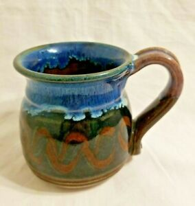 """Studio Handcrafted Brown/Blue Signed Glazed Pottery Coffee Mug 4"""" Tall"""