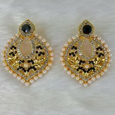 Pearl Drop Carving Design Black Stone Trendy Gold Plated Earrings Wedding Event