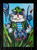"Original art by Bastet ""Fisherman Cat"" OOAK hand painted ACEO"