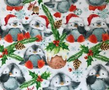 Festive Baby Penguins John Louden Digital 100% Cotton Christmas Fabric 150cm