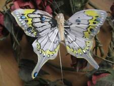Swallowtail Feather Butterfly - White/Pale Grey - 8.0cm wingspan