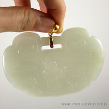 19C Chinese Mutton Fat White Jade Carved Shouxing Longevity 14K Gold Pendant