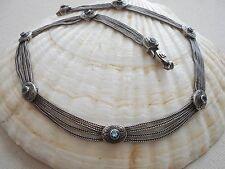 Vintage Sterling Silver Anatoli Aquamarine 4 Strand Necklace   48562
