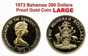 RARE 1973 1974 $200 Dollar Independence Day BAHAMAS PROOF GOLD COIN NEAR 1/2 OZ