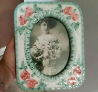 Vintage ceramic Victorian style picture frame, red roses, green border