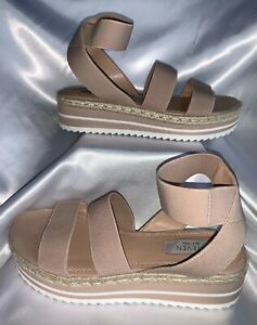 Steven New York Sandals Beige Ankle Strap Flatform Wedge Woven Jute Size 7.5 New