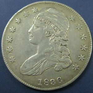 1836 Capped Bust Silver Half Dollar 50C - VF Detail (Lightly Cleaned)