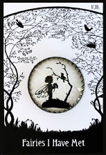 FAIRY TALKING TO BIRD IN TREE Glass Dome Filigree BUTTON 30mm VINTAGE SILHOUETTE