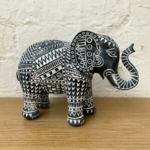 Black Aztec Standing African Elephant Wild Safari Animal Figurine Ornament 21cm