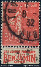 FRANCE TYPE SEMEUSE N° 199 PUB BENJAMIN AVEC OBLITERATION