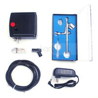 MINI Airbrush Kit Compressor Nail Art Tattoo Dual Action Spray Air Brush Gun Set