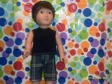 "18"" Doll Clothes-fit American Girl/Boy-Tank Top,Shorts & Hat-Dk Blue/Plaid"