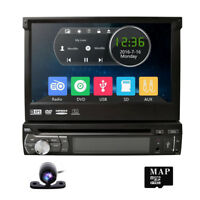 "1 DIN Single 7"" HD Touch Car Stereo MP5 DVD Player GPS Bluetooth Radio Camera"