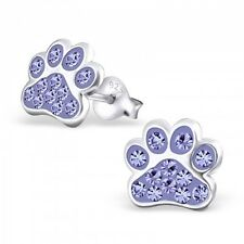 Sterling Silver 925 Dog / Cat Paw Crystal Stud Earrings - Lilac