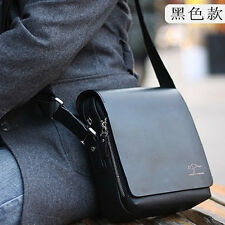 Men's Vertical PU Shoulder Bag Handbag Messenger Bag Black