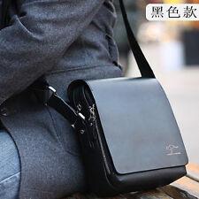 Men's Vertical PU Shoulder Bag Handbag Messenger Bag Black