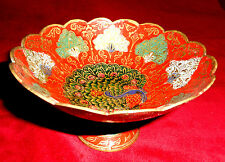 Vintage Solid Brass Pedestal Bowl made in India Enamel brass looking Peacock