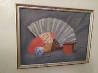 Original Oil Painting Signed Still Life Vintage Art Folk Art Primitive Very Nice