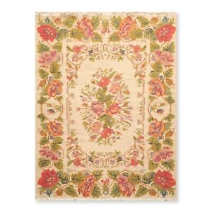 """5'6"""" x 7'6"""" Nourison Nourmak Hand Knotted Wool Reversible Floral Area Rug Beige"""