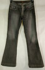 Genuine Fossill Womens Jeans Size 25 Flare Low Rise Dark Gray Wash Made In USA