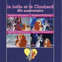 Madagascar Disney Stamps 2020 CTO Lady & Tramp Dogs Cartoons 4v M/S