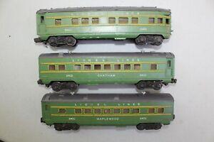 Lionel Postwar 2400 2401 2402 Green & Gray O27 Passenger Car Set