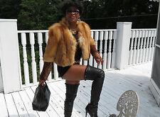 Stylish Designer Platinum Furs gold red fox fur Coat jacket bolero S-M 0-8