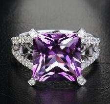 5.51ct princess cut Amethyst & Diamonds 14K White Gold Engagement Ring 5.12g!