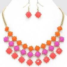 Chunky Bead Multi Color Gold Chain Necklace Earring Set Fashion Costume Jewelry