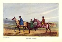 RACING STALLIONS TRAINING 1903 ANTIQUE COLOR ENGRAVING BY HENRY ALKEN, TROTTING