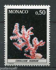 MONACO 1980, timbre 1259, POISSONS, CORALLIUM RUBRUM, FAUNE, MER, neuf**
