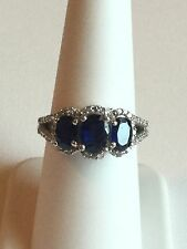925 Sterling Silver Ring With Blue Sapphire and CZ Stones Size 7 1/4