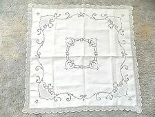 Antique Victorian/Edwardian Embroidery & Lace Linen Tea Table Cloth
