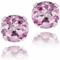 14K GOLD PINK SAPPHIRE 2.86 CARAT ROUND SHAPE STUD EARRINGS - BUY 2 GET 1 FREE!!