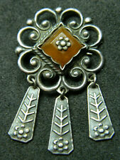 Vintage Silver Brooch Sun Ancient Baltic Folk Style