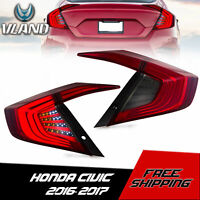 VLAND Red Smoked LED Taillight Rear Brake Lamp For 2016-2019 Honda Civic 4 Door