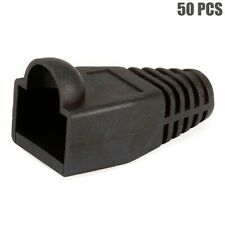 50 Pcs Cat5e Rj45 Network Lan Ethernet Cable Plug End Connector Cap Boot Black