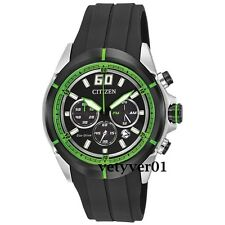 CITIZEN Eco-Drive Green Accented Black Dial Black Rubber Strap Chronograph Watch