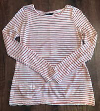 Banana Republic Striped Red & White Long Sleeved Sheer Top Size Small Like New!