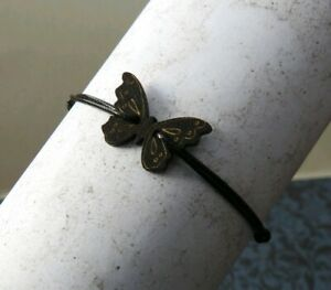 Black Cord Bracelet with wooden Black butterfly retro, Adjustable
