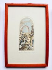 BEAUTIFUL ORIGINAL ETCHING by SUZAN hand coloured CHARMING FAIRYTALE ART framed