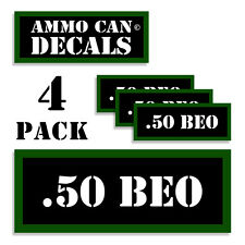 """.50 BEO Ammo Can 4x Labels Ammunition Case 3""""x1.15"""" stickers decals 4 pack"""