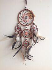 Gorgeous Brown Leather Spiral Beaded Dream Catcher 11.5cm x 50cm Room Decor